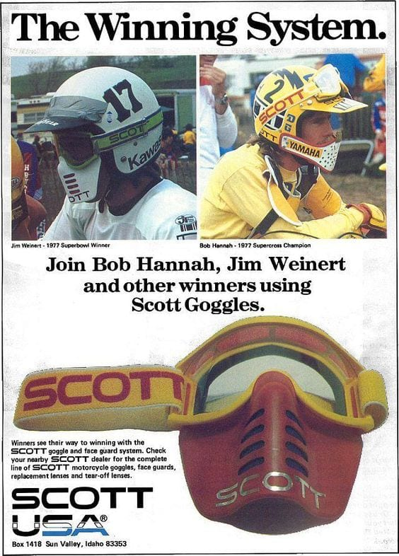 Dirt bike goggles in the 80s were very different.