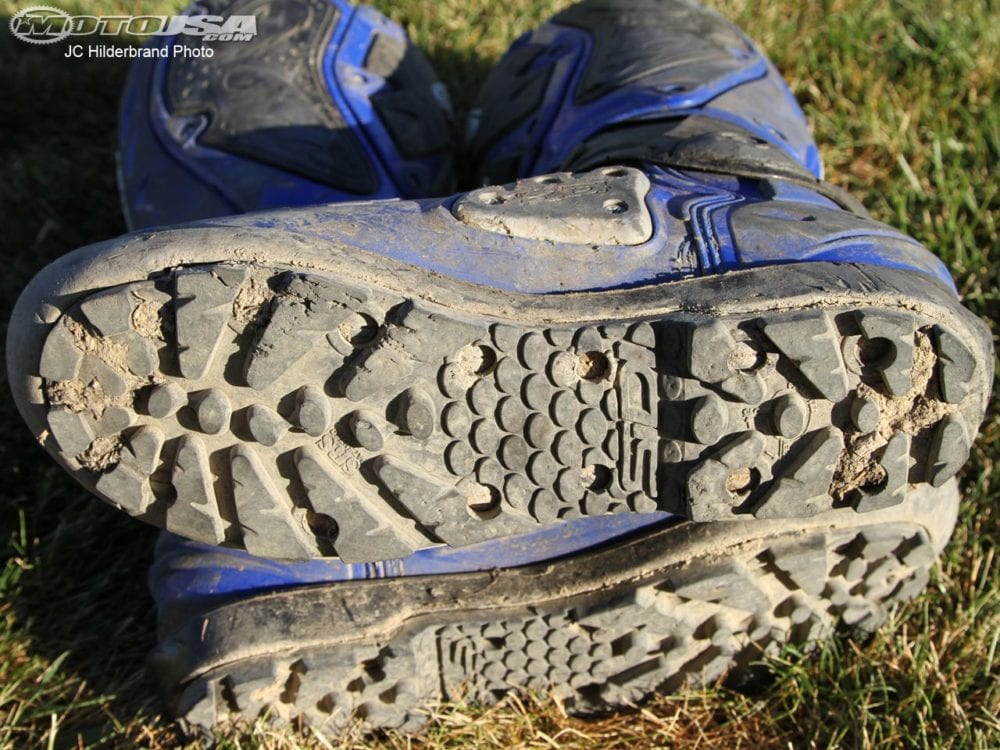 make sure you have plenty of grip on the soles of your moto boots.
