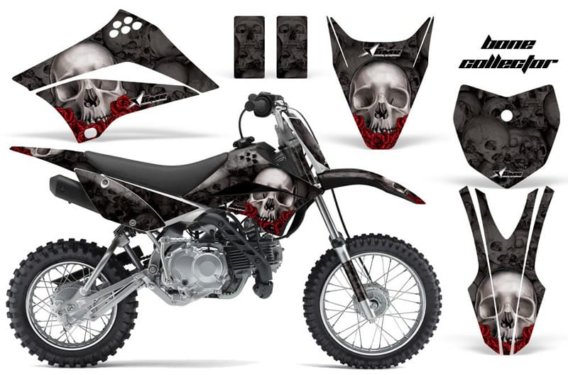 kawasaki klx 110 graphics kit black skulls