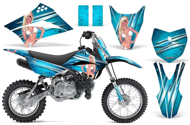 kawasaki klx 110 graphics kit blue