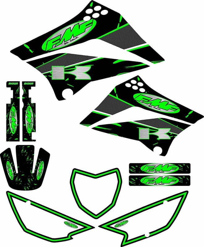 kawasaki klx 110 graphics kit green FMF