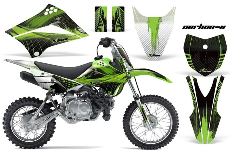 kawasaki klx 110 graphics kit green carbonx
