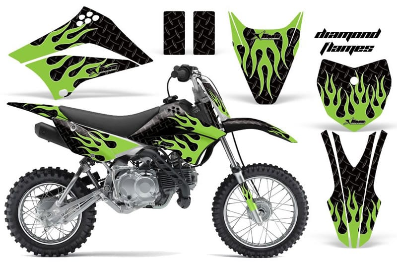 kawasaki klx 110 graphics kit green flames