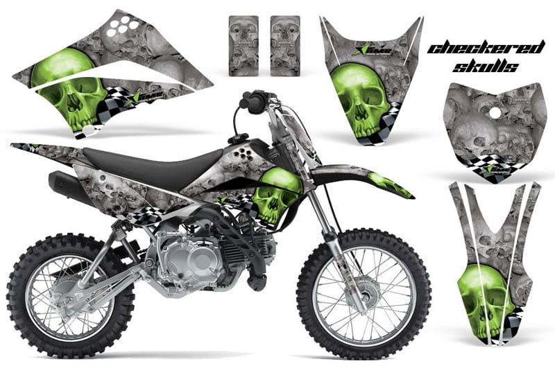 kawasaki klx 110 graphics kit green skulls grey