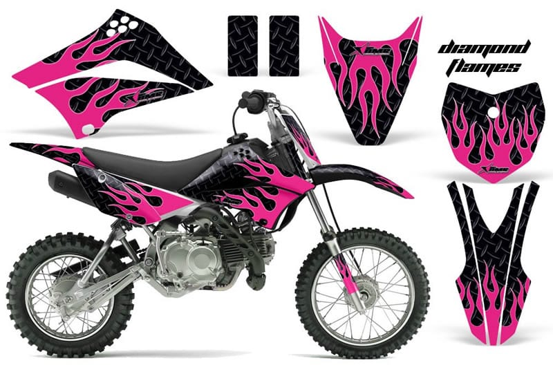 kawasaki klx 110 graphics kit pink flames