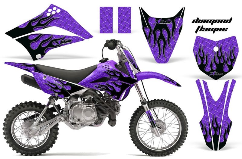kawasaki klx 110 graphics kit purple flames