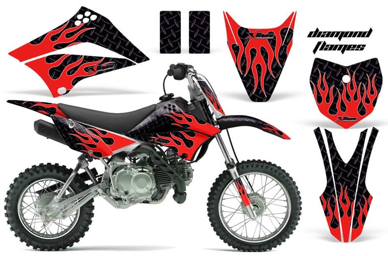 kawasaki klx 110 graphics kit red flames