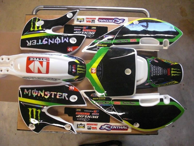 kawasaki klx 110 monster energy graphics with white plastics