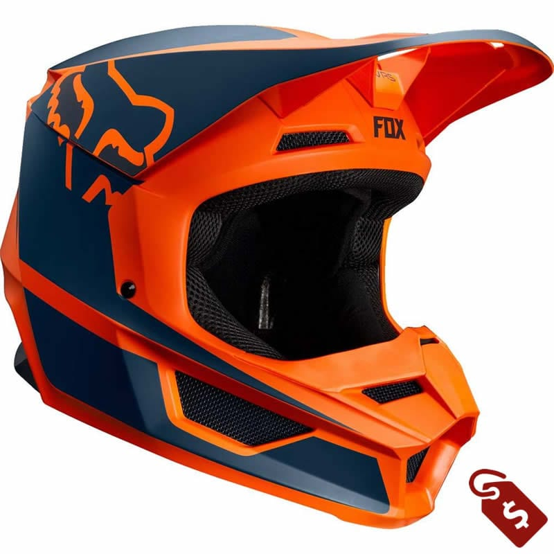 orange and black dirt bike gear. Fox V1 Przm motocross helmet