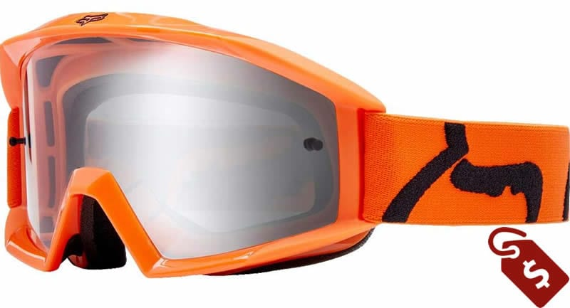orange and black dirt bike gear. fox racing main goggle