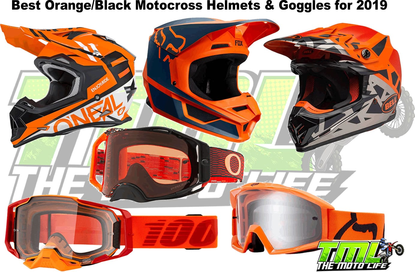 orange and black dirt bike helmets and gear 2019