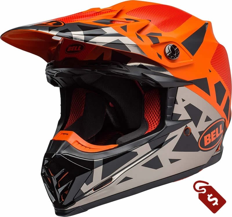 orange and black dirt bike helmets. Bell Moto-9 MIPS