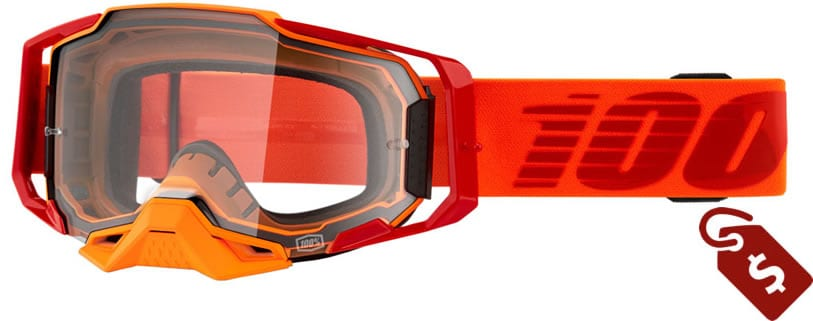 orange black dirt bike gear. 100% Armega Goggle